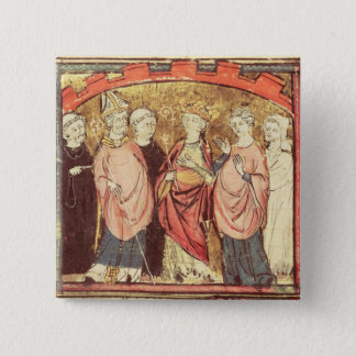 Dagobert I , King of Franks receiving the Kingdom 15 Cm Square Badge