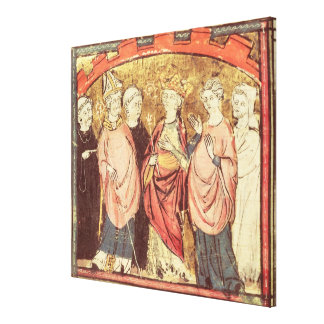 Dagobert I , King of Franks receiving the Kingdom Canvas Print