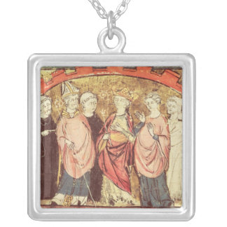 Dagobert I , King of Franks receiving the Kingdom Silver Plated Necklace