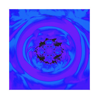 Dahlia Abstract, Blue, Purple Gallery Wrapped Canvas