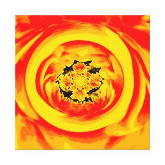 Dahlia Abstract, Yellow, Orange, Red Canvas Print