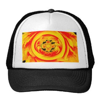 Dahlia Abstract, Yellow, Orange, Red Cap