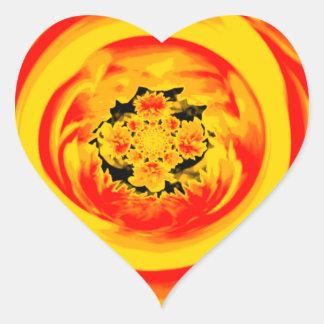 Dahlia Abstract, Yellow, Orange, Red Heart Sticker