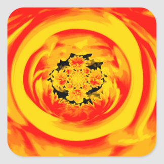 Dahlia Abstract, Yellow, Orange, Red Square Sticker