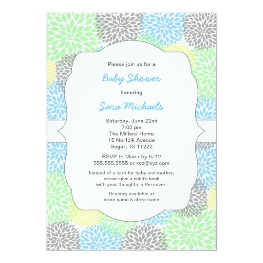 Dahlia blooms neutral baby shower blue mint grey card