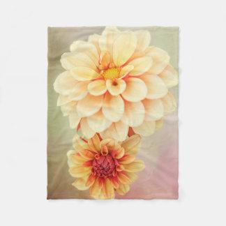 Dahlia Blossoms in Warm Hues Fleece Blanket