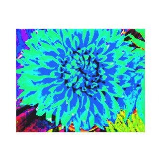 dahlia, blue, green, purple, mason jar gallery wrap canvas