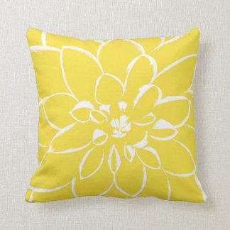 Dahlia Buttercup   Yellow Flower Throw Pillow