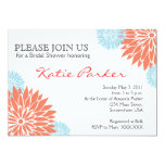 Dahlia Coral and Light blue Flower 13 Cm X 18 Cm Invitation Card