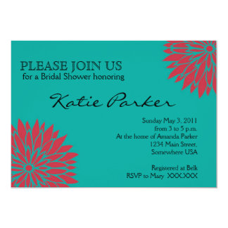Dahlia Coral and teal Flower Card