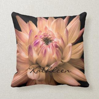 Dahlia Corona Flower Custom Name Cushion