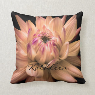 Dahlia Corona Flower Custom Name Throw Pillow