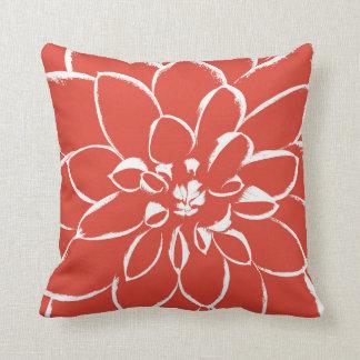Dahlia Fiesta   Red Flower Throw Pillow