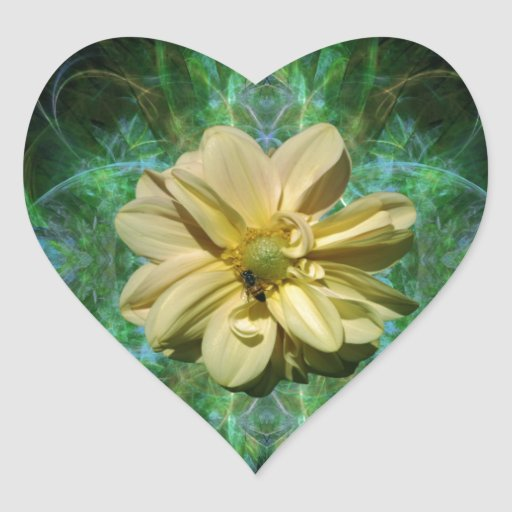 Dahlia flower and meaning heart stickers
