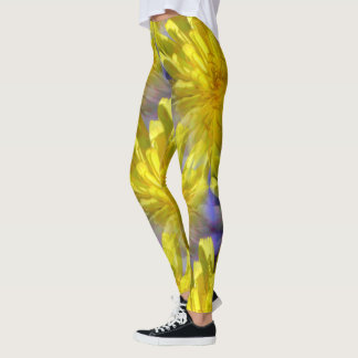 Dahlia Flower Patterned Leggings