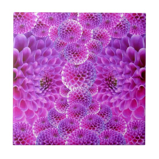 Dahlia Flower Small Square Tile