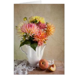 Dahlia Flowers Card