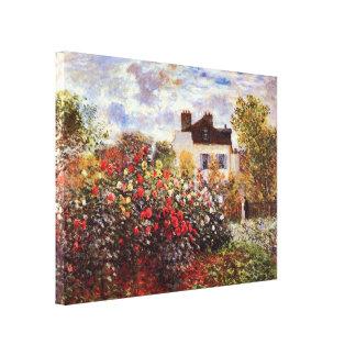 Dahlia Garden in Argenteuil Claude Monet Fine Art Stretched Canvas Print