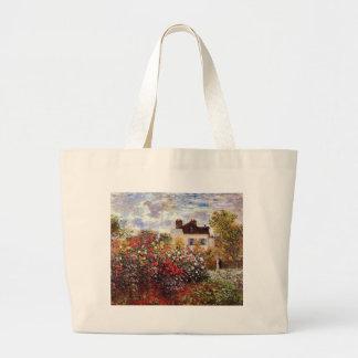 Dahlia Garden in Argenteuil Claude Monet Fine Art Large Tote Bag
