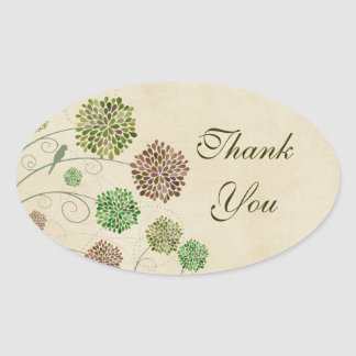 Dahlia Garden Wedding Thank You Oval Sticker