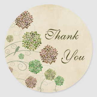 Dahlia Garden Wedding Thank You Round Sticker