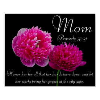 Dahlia Mother's Day bible verse Proverbs 31 Poster