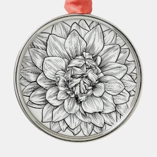 Dahlia or Chrysanthemum Flower Woodcut Etching Christmas Ornament