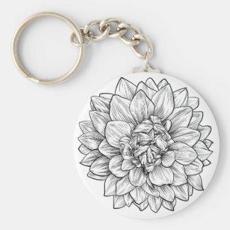 Dahlia or Chrysanthemum Flower Woodcut Etching Key Ring