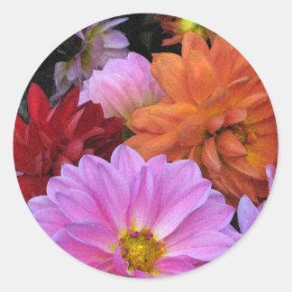 Dahlia Petals Classic Round Sticker