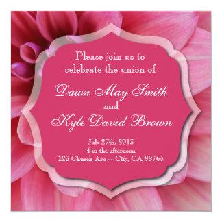 Dahlia pink flower wedding invitation