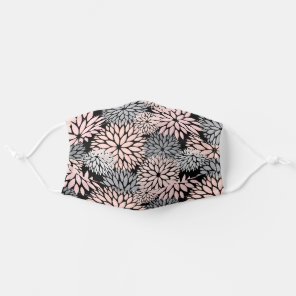 Dahlia Pink Gray Floral Pattern Cloth Face Mask