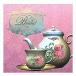 Dahlia Pink Teal Blue Bridal Tea Shower Invitation
