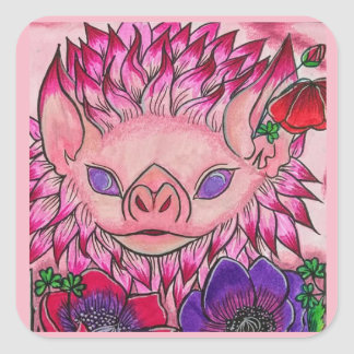 Dahlia Poppy Bat Square Sticker