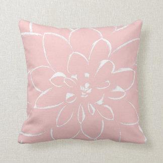 Dahlia Rose Quartz   Pink Flower Throw Pillow