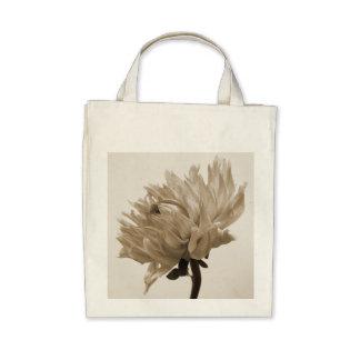 dahlia sepia print canvas bags