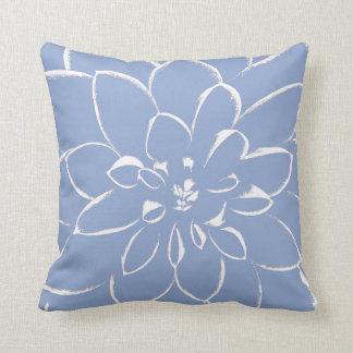 Dahlia Serenity Blue Throw Pillow