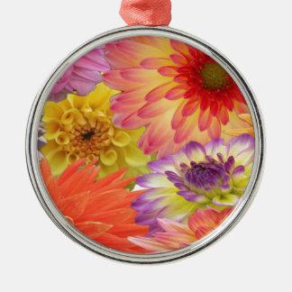 Dahlia Silver-Colored Round Decoration
