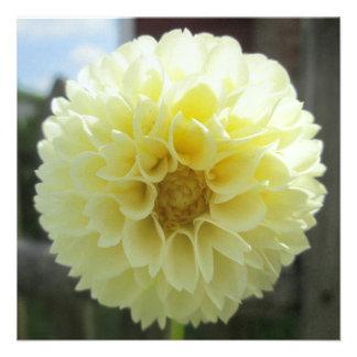Dahlia Sunlit Yellow Flower Custom Invites