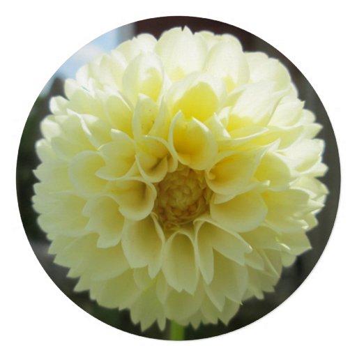 Dahlia Sunlit Yellow Flower Personalized Invitation