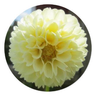 Dahlia Sunlit Yellow Flower 5.25x5.25 Square Paper Invitation Card