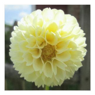 "Dahlia Sunlit Yellow Flower 5.25"" Square Invitation Card"