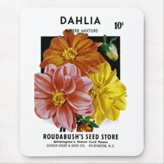 Dahlia Vintage Seed Packet Mouse Pad