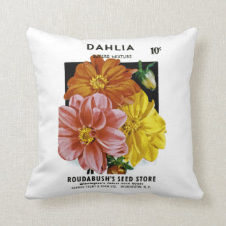Dahlia Vintage Seed Packet Throw Cushions