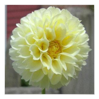 "Dahlia Yellow Angle Flower 5.25"" Square Invitation Card"