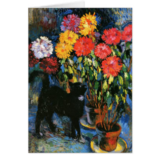 Dahlias and Black Cat, fine art painting Card