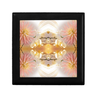 Dahlias and Orchids flowers in reflect Small Square Gift Box