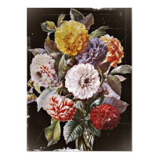 Dahlias Antique Bouquet 14 Cm X 19 Cm Invitation Card