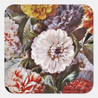 Dahlias Antique Bouquet Square Sticker