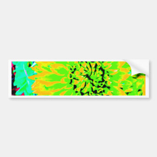 dahlias, bright yellow, teal, green ,blue bumper sticker