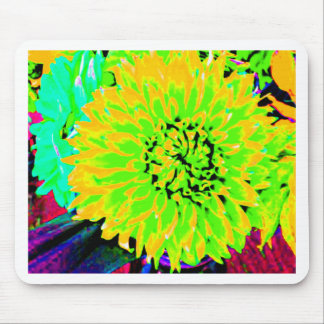 dahlias, bright yellow, teal, green ,blue mouse pad